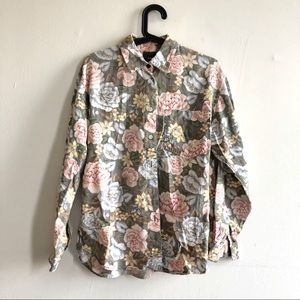 90s Grunge Floral Print Long Sleeve Top